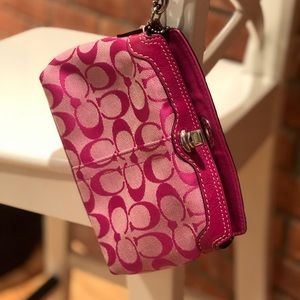 Coach Signature wristlet in hot pink.  EUC